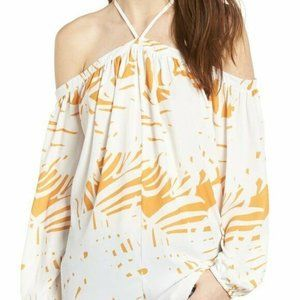 Bishop + Young Ana Halter Neck Palm Print Top